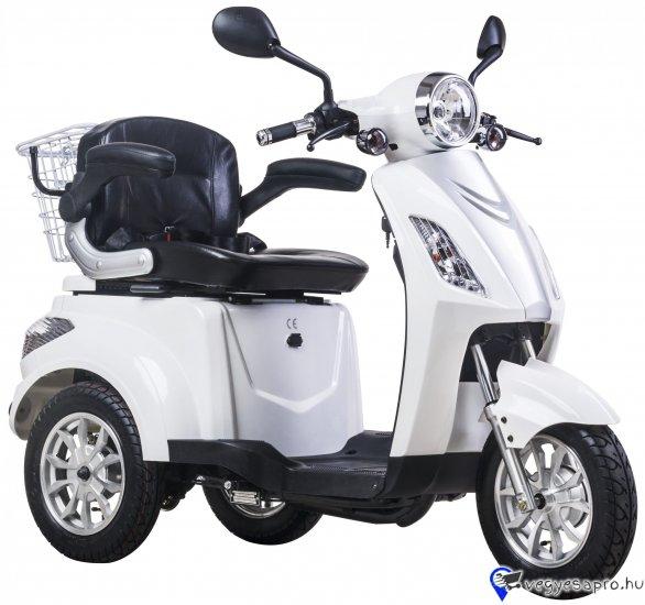 """További elektromos járműveinket megtekintheti a www.z-oil. hu weboldalon.  Bruttó kisker ár: 439 600.- HUF / db Érvényes hirdetett bruttó Akciós ár: 409 800.- HUF / db  ZTECH ZT-15-D ELEKTROMOS JÁRMŰ L2eP 25KM/H FEHÉR  AKKU: 48V20Ah ólomsavas akkumulátor (4db) AKKU TÖLTÉSI IDŐ: 4-8 óra TELJESÍTMÉNY: 900W motor MEGHAJTÁS: hátsó kerék meghajtás KEREKEK: 3,5-10"""" kerék, FÉKEK: Dobfékek MAX. SEBESSÉG: 25 km/h HATÓTÁV: 35-40km SÚLY: 109kg TERHELHETŐSÉG: 130 KG EGYÉB FELSZERELTSÉG: led kijelző, differenciálmű, hátsó csomagtartó kosár, visszapillantó tükör, ülés alatti zárható rakodó rekesz, kiváló útfekvés, hátramenet funkció, kényelmes karfás fotel  BESOROLÁS: L2eP, jogosítvány nélkül, bukósisakkal, biztosításal vezethető  A fenti áron az üzletünkben: összeszerelt, üzembe helyezett állapotban átvehető. Futárszolgálatos postázásra nincs lehetőség. Garanciajegy átvételének igazolása:   A termék a feltüntetett képtől részben eltérhet! A KÉSZLET FRISSÜLÉSÉVEL AZ ÁRVÁLTOZTATÁS JOGÁT FENNTARTJUK!"""